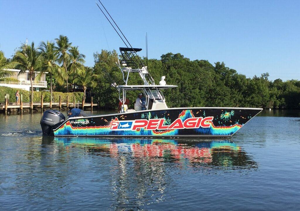 All Lit Up Fishing Charter Boat in Islamorada, Florida Keys - side view