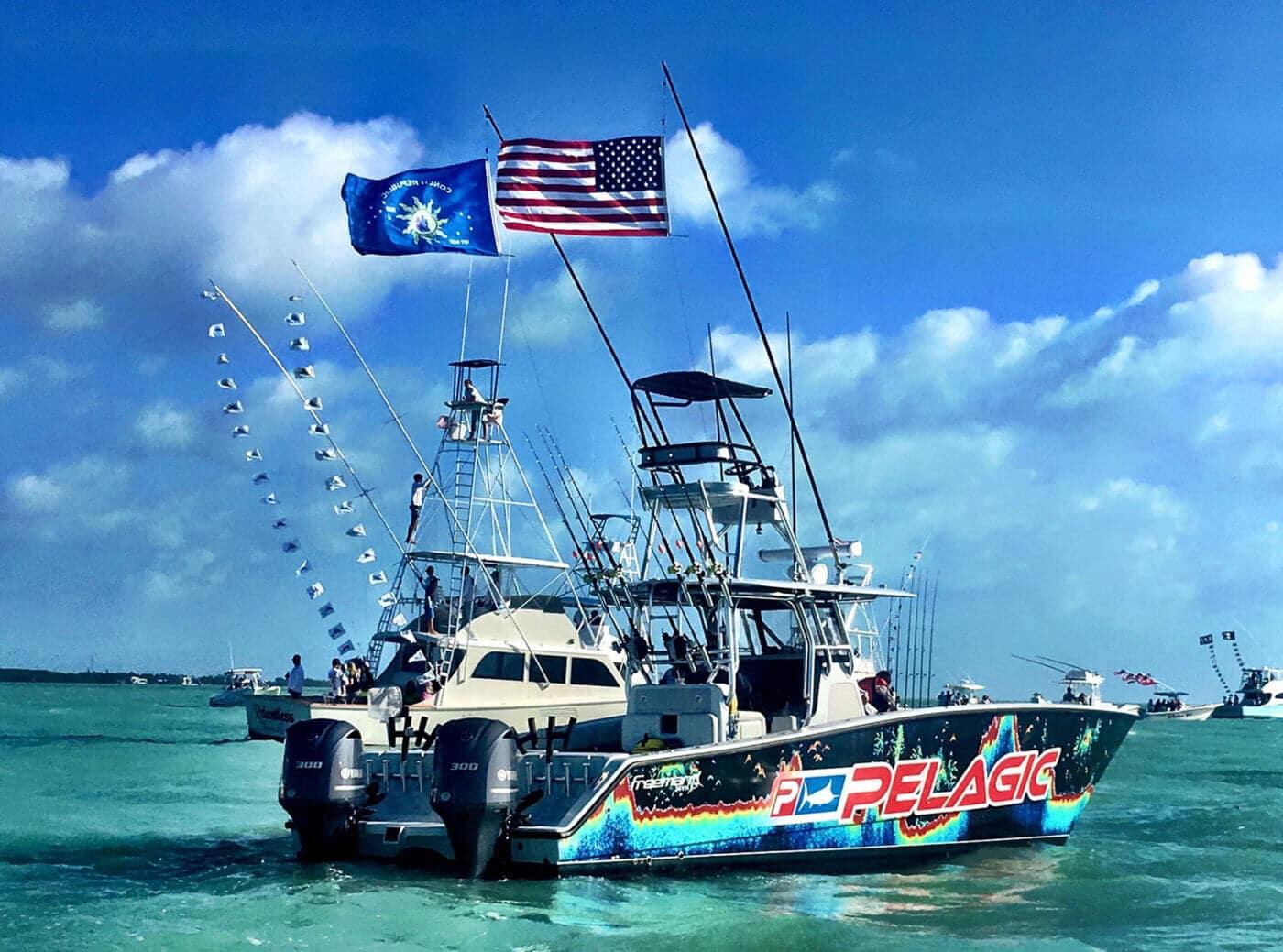 All Lit Up Fishing Charter Boat in Islamorada, Florida Keys