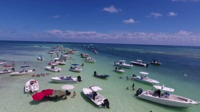Islamorada, Florida Keys family fun fishing trip - at the sandbar for swimming & lunch